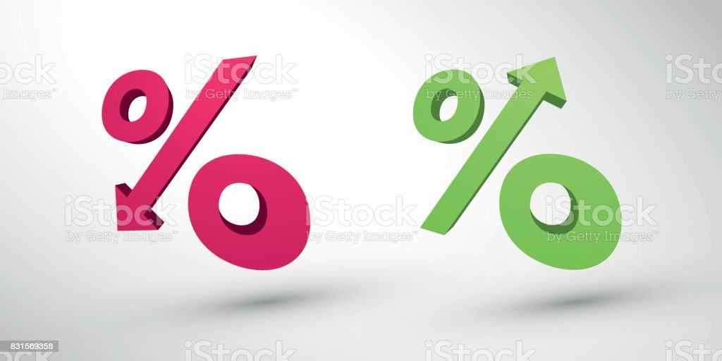 Percentage decrease and growth 3d icons vector art illustration
