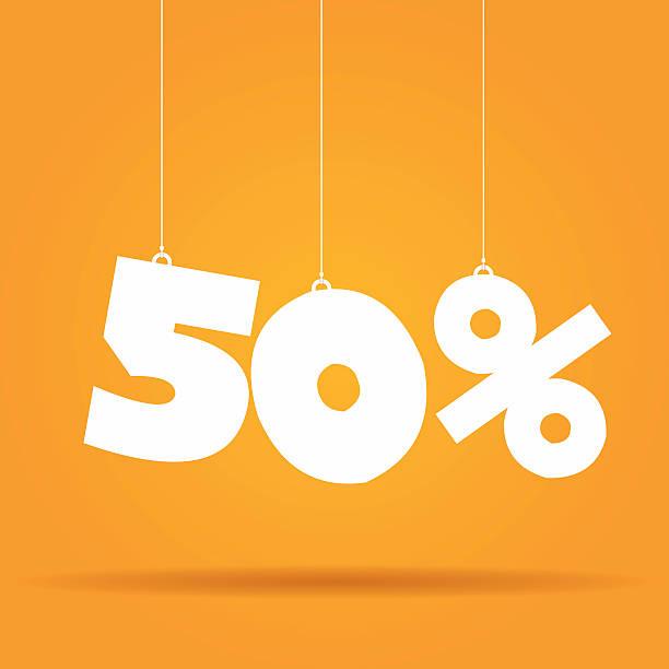 bildbanksillustrationer, clip art samt tecknat material och ikoner med percentage hanging label - talet 50