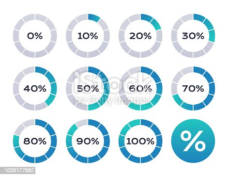 Percentage loading circle design elements.