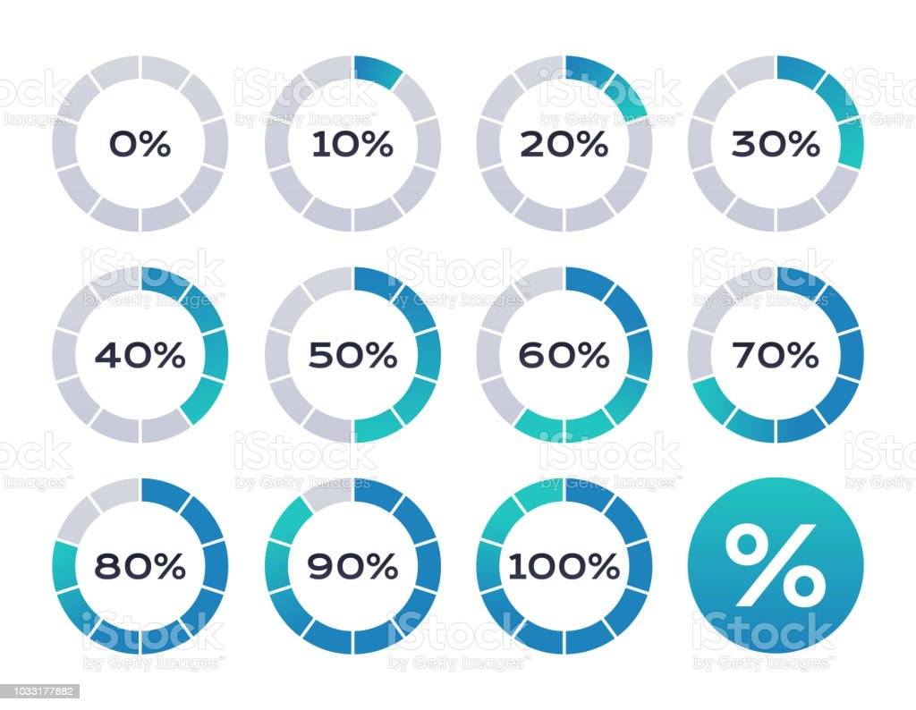 Percentage Loading Circles vector art illustration