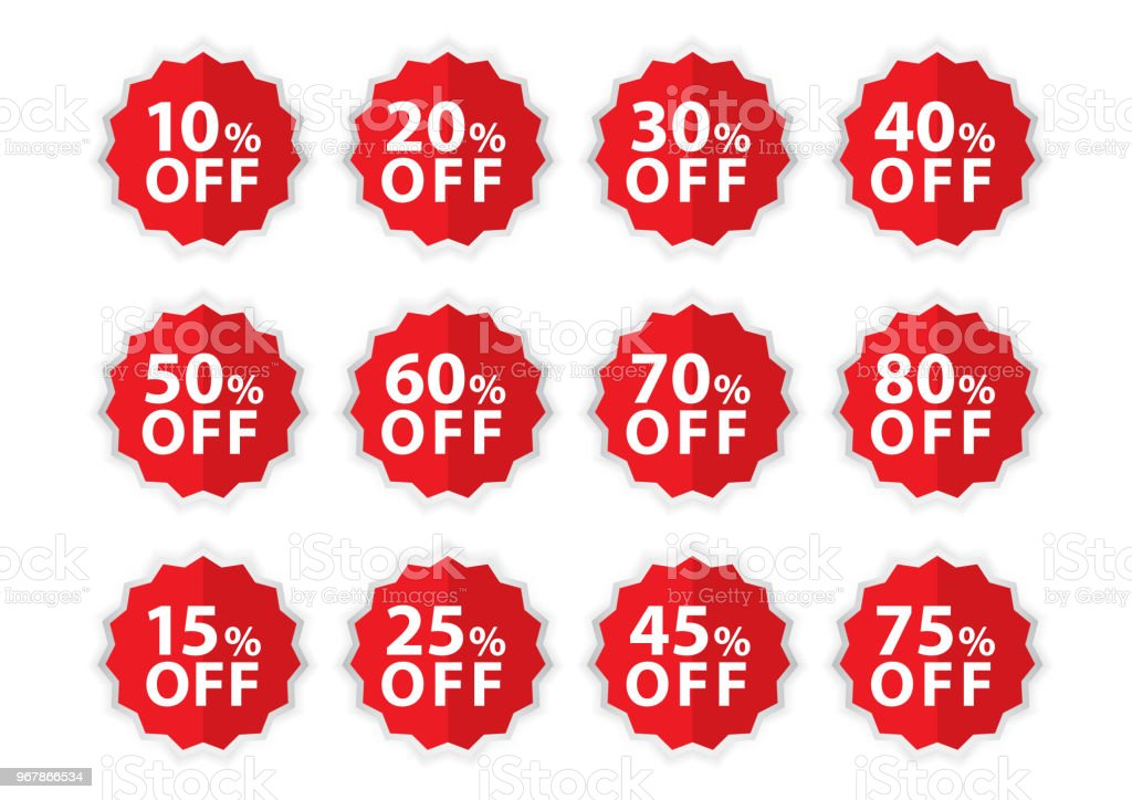 percentage off stickers sale tags red sale template labels discount icon