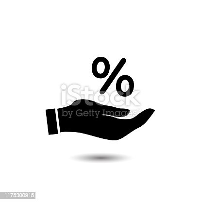 Percentage on hand icon, logo on a white background. Vector