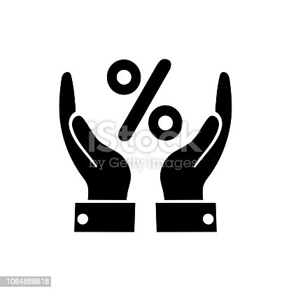 percentage on hand  icon on a white background