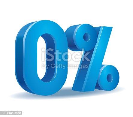 istock Percentage vector in blue color, 0 1214040438