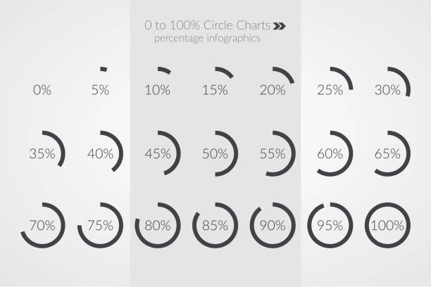 percentage vector infographics. 0 5 10 15 20 25 30 35 40 45 50 55 60 65 70 75 80 85 90 95 100 percent pie chart symbols. circle diagrams isolated. illustration for business, marketing project, web design - pie chart stock illustrations, clip art, cartoons, & icons