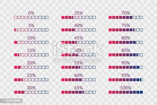 Percentage vector symbols. 5 10 15 20 25 30 35 40 45 50 55 60 65 70 75 80 85 90 95 100 0 percent square charts on transparent background. Icons set for web, design, download, progress