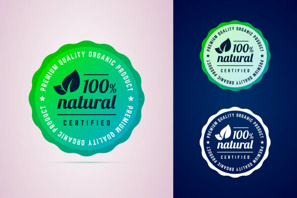 100 percents natural certified product round badge. 100 percents natural certified product round badge. The premium quality product. Vector badge in trendy gradient style in three color variants for eco, green, natural products. postage stamp stock illustrations