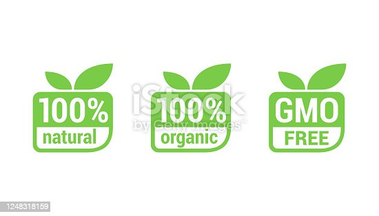 100 natural, 100 organic, GMO free - tag for healthy food, vegetarian nutrition in modern leaf shape - vector sticker set