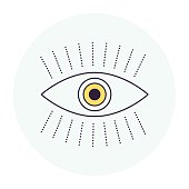 Thin line icon eye symbol for perception compositions. Modern style vector illustration concept.