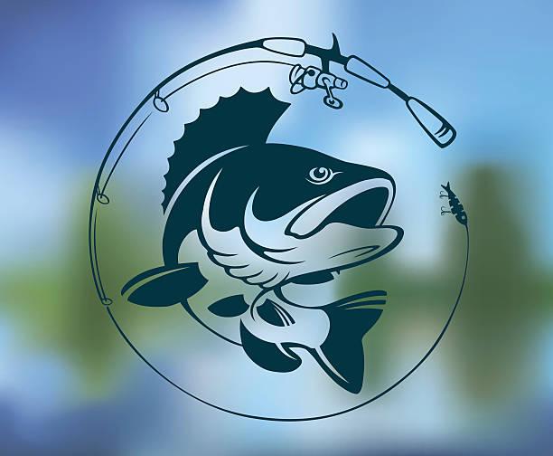 ilustraciones, imágenes clip art, dibujos animados e iconos de stock de logotipo de respaldo - pesca