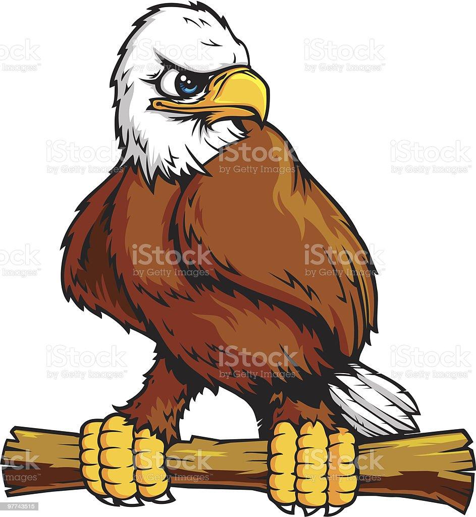 Perched Eagle vector art illustration