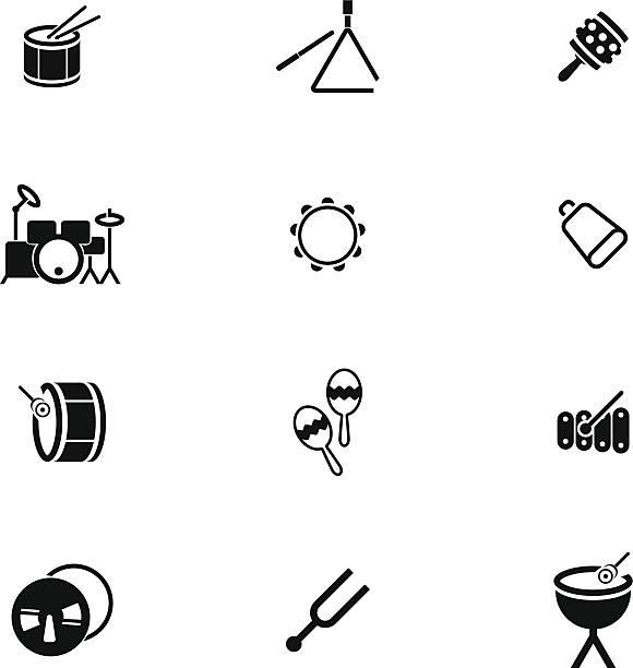 ikony zestaw perkusyjny - talerz perkusyjny stock illustrations