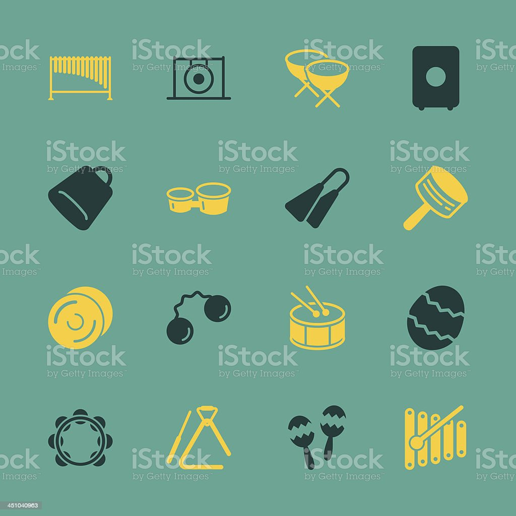 Percussion Music Icons - Color Series   EPS10 vector art illustration