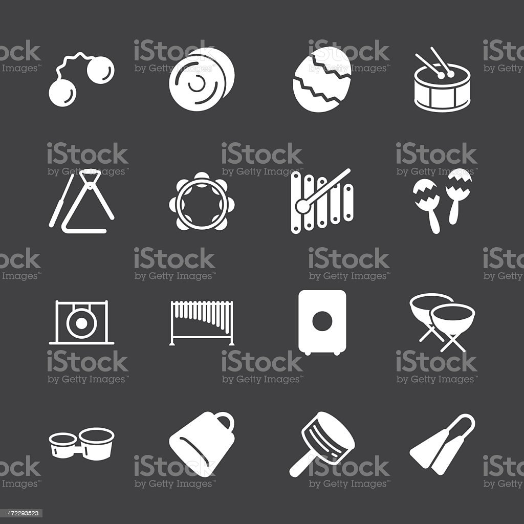 Percussion Music Icons - White Series | EPS10 royalty-free stock vector art