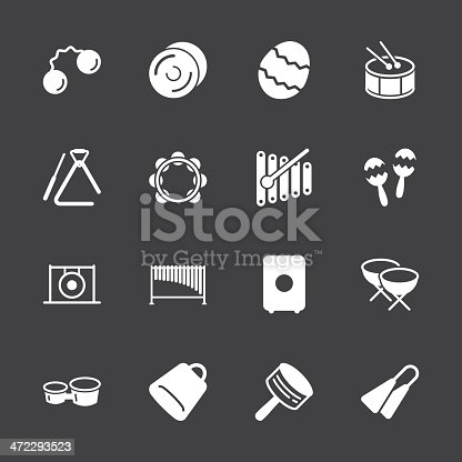 Percussion Music Icons White Series Vector EPS10 File Icons.