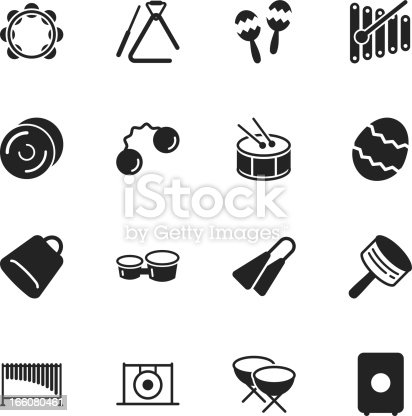 Percussion Music Silhouette Vector File Icons.