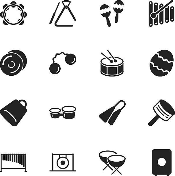 sylwetka ikony muzyki oklepywania - talerz perkusyjny stock illustrations