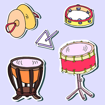 Percussion musical instrument sticker pack. Drum, cymbals, tambourine, triangle hand-drawn artistic vector objects with shadow collection.