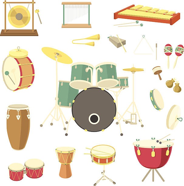 stockillustraties, clipart, cartoons en iconen met percussion musical instruments - tamboerijn