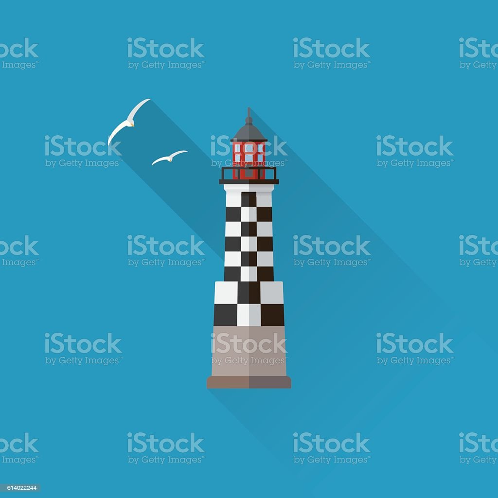 Perdrix Lighthouse Flat design long shadow icon - Illustration vectorielle