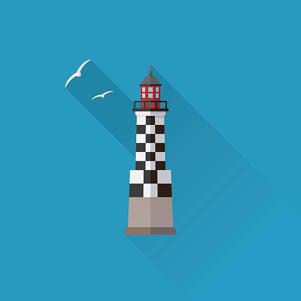 illustrations, cliparts, dessins animés et icônes de perdrix lighthouse flat design long shadow icon - bretagne