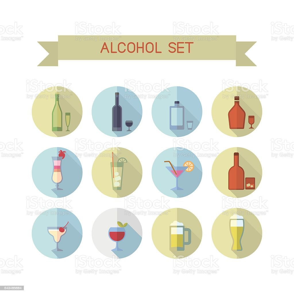 Perfect alcohol icons vector art illustration