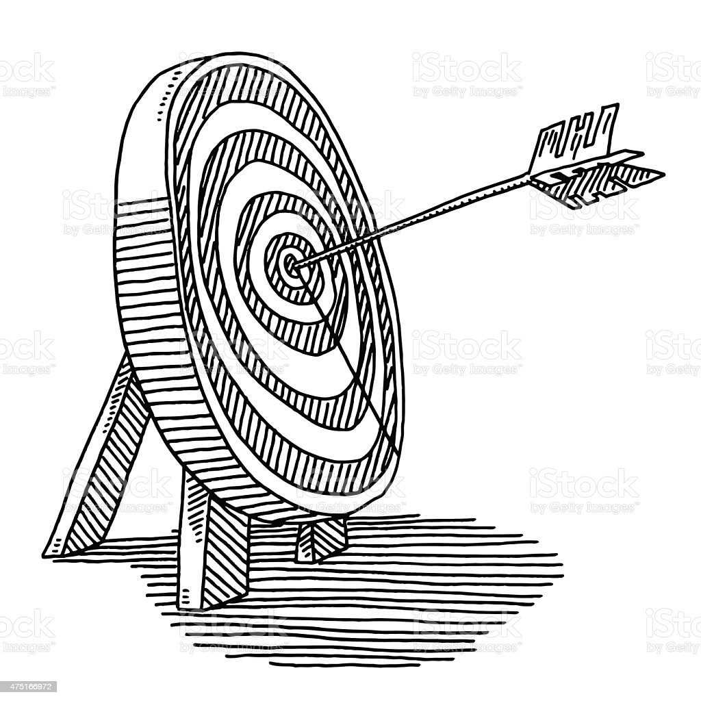 Line Drawing Photo : Perfect arrow in the center of target drawing stock