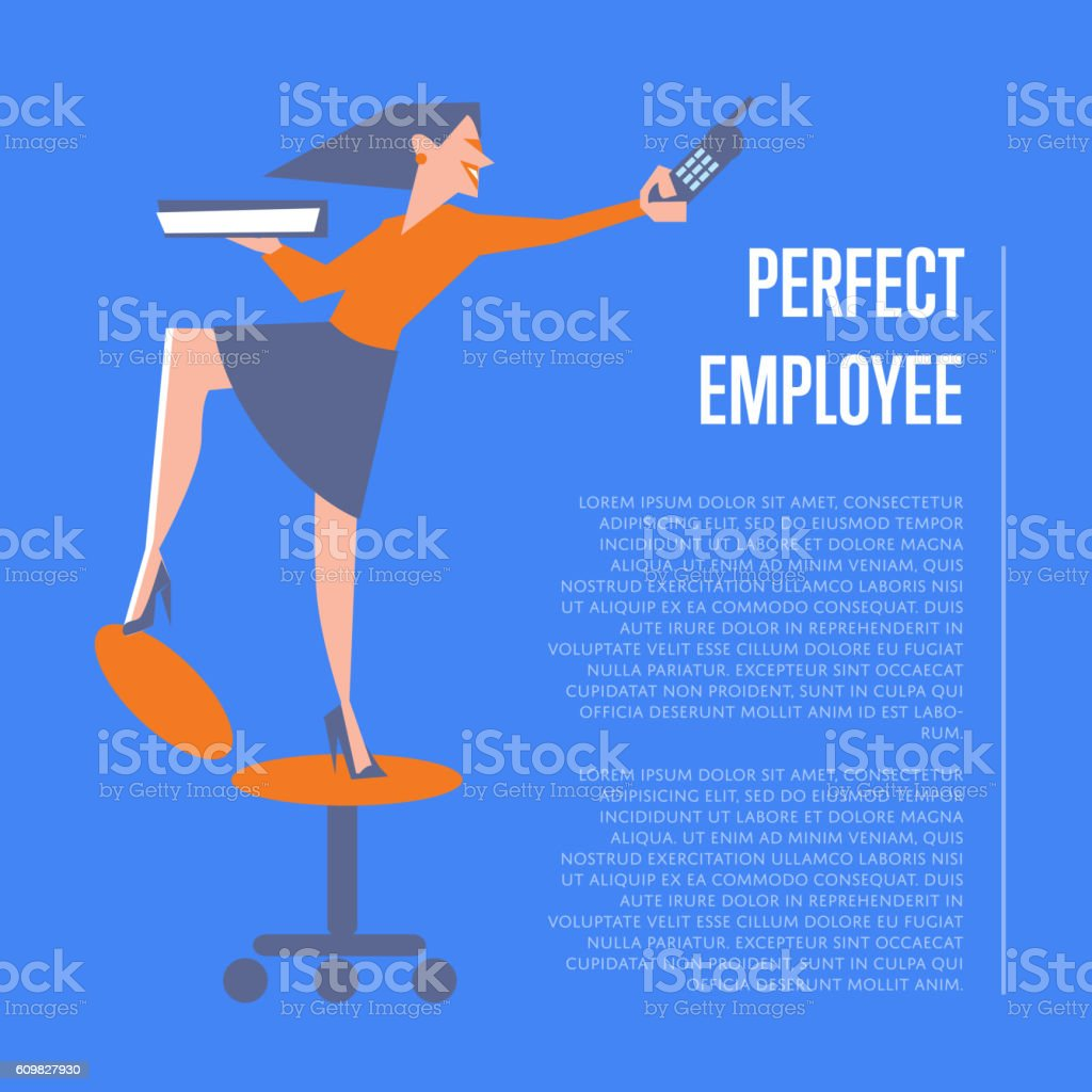 Perfect employee banner with business woman vector art illustration