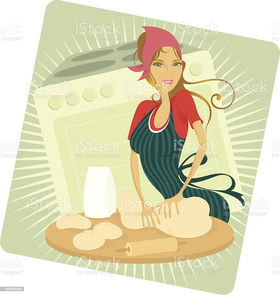 Perfect housewife. vector art illustration