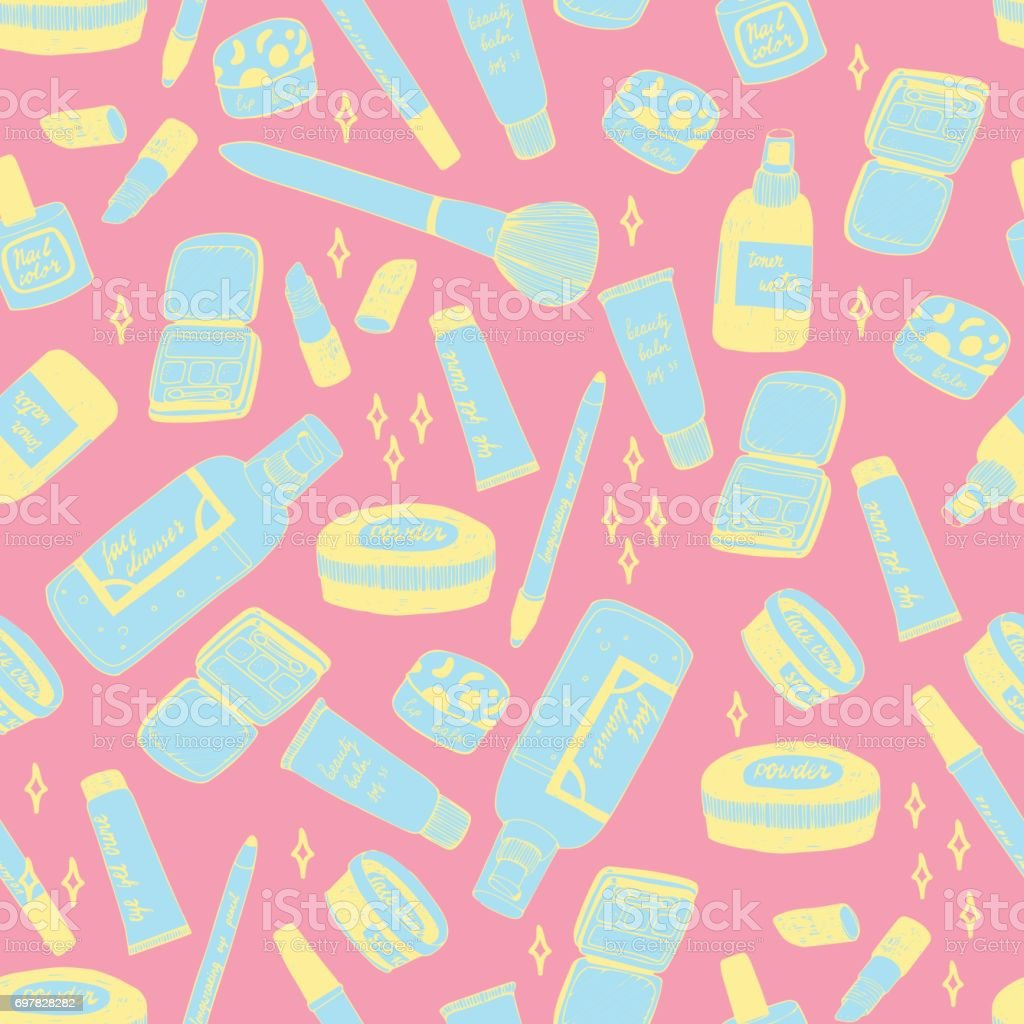 Perfect make up hand drawn seamless vector pattern in trendy and cute...