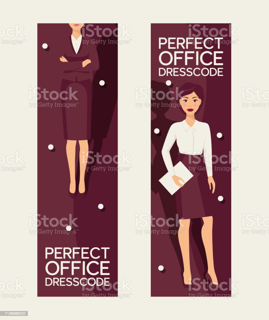 cb9ed3425e971 Perfect office dresscode set of banners vector illustration. Elegant pretty  business woman in formal clothes. Base wardrobe, feminine corporate clothing .