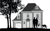 A vector silhouette illustration of a husband and wife walking their dog on a leach infront of their lavish home with a tree in the yard.
