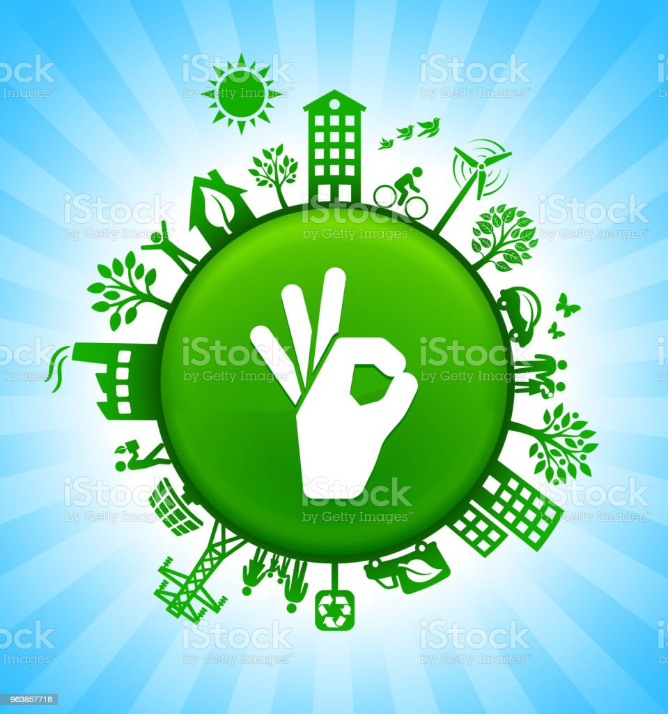 Perfect Sign Environment Green Button Background on Blue Sky - Royalty-free Alternative Energy stock vector