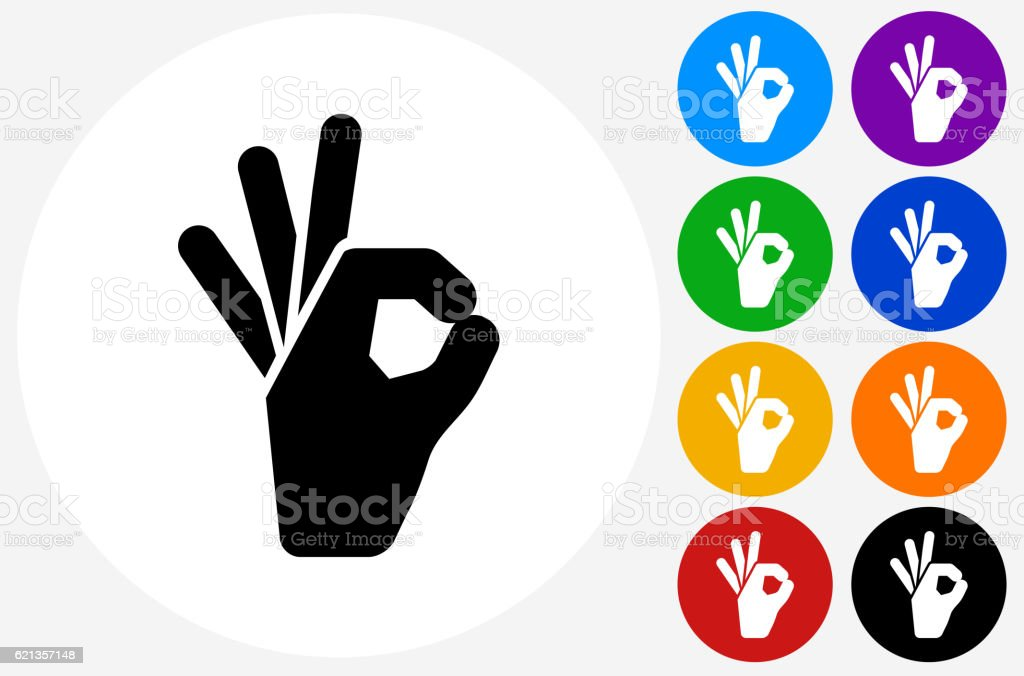 Perfect Sign Icon on Flat Color Circle Buttons vector art illustration
