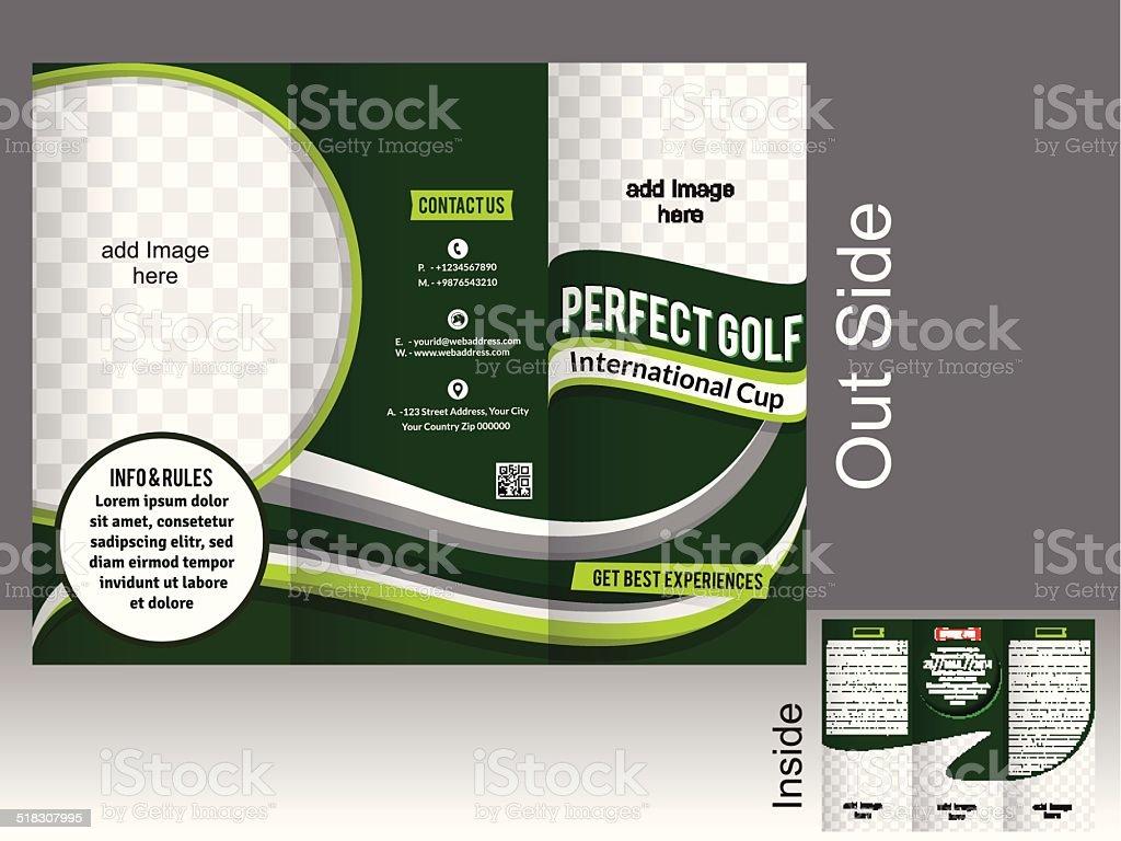 perfect tri fold golf brochure vector art illustration