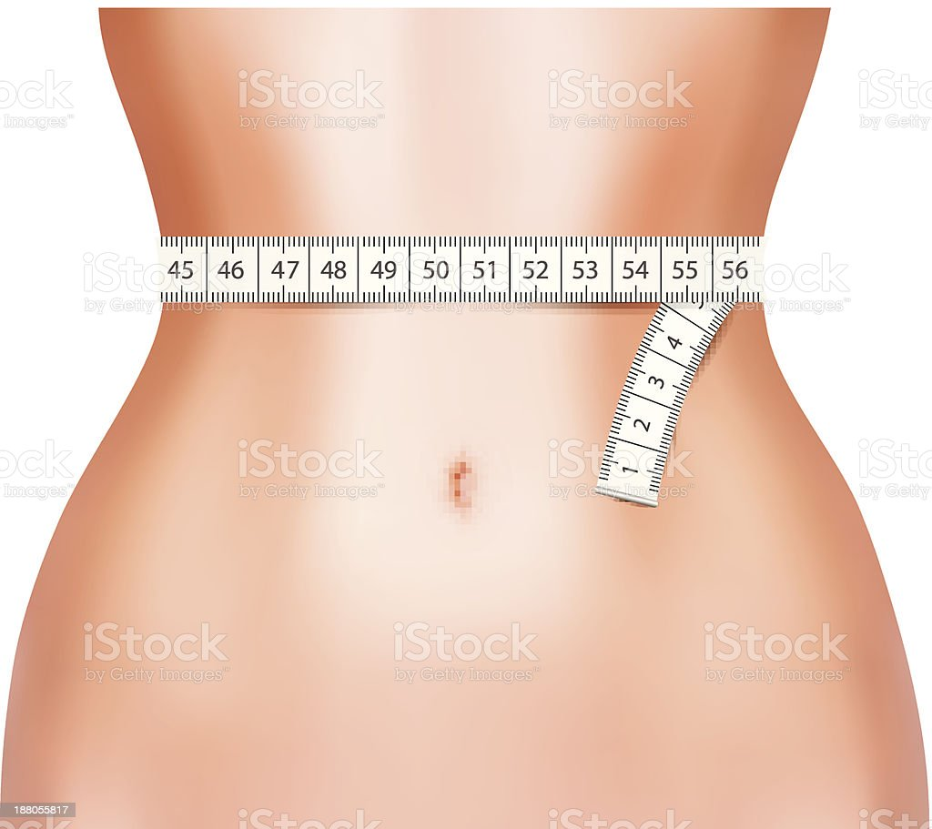 Perfect woman belly with measuring tape. vector art illustration