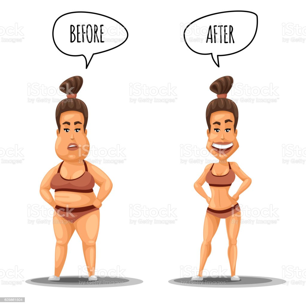 Perfect woman. Girl before and after weight loss vector illustration vector art illustration