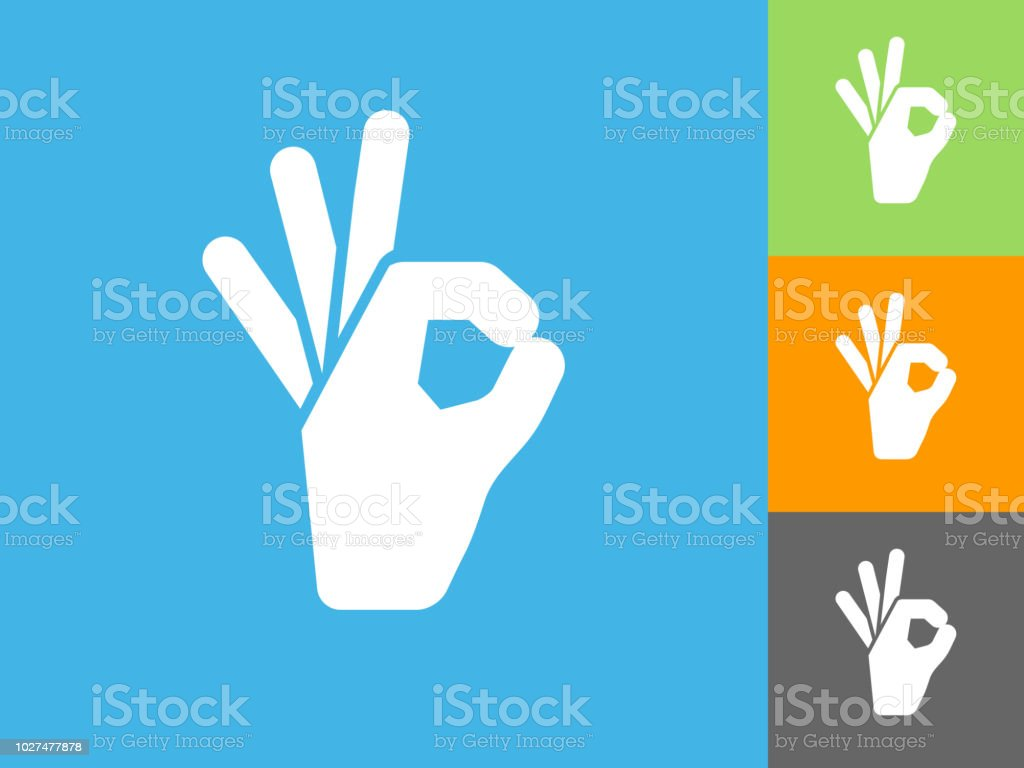 Perfection Hand Flat Icon on Blue Background. The icon is depicted on...