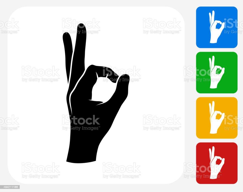 Perfection Hand Icon Flat Graphic Design vector art illustration
