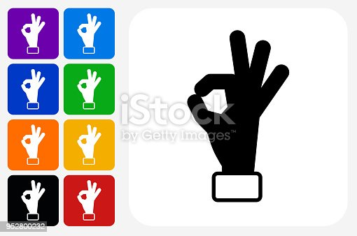 Perfection Hand Icon Square Button Set. The icon is in black on a white square with rounded corners. The are eight alternative button options on the left in purple, blue, navy, green, orange, yellow, black and red colors. The icon is in white against these vibrant backgrounds. The illustration is flat and will work well both online and in print.