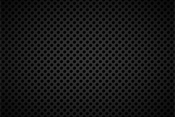 perforierte schwarzen metallischen hintergrund, abstrakten hintergrund-vektor-illustration - lederverarbeitung stock-grafiken, -clipart, -cartoons und -symbole