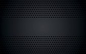 Perforated black metallic background with blank space for your text, abstract wallpaper, vector illustration
