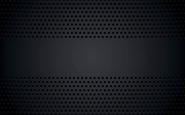 perforierte schwarzen metallischen hintergrund mit leeren platz für ihren text, abstrakte wallpaper, vektor-illustration - lederverarbeitung stock-grafiken, -clipart, -cartoons und -symbole