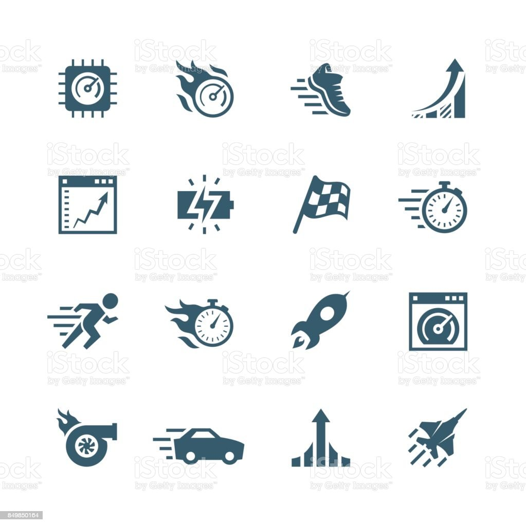 Performance and velocity vector icon set vector art illustration