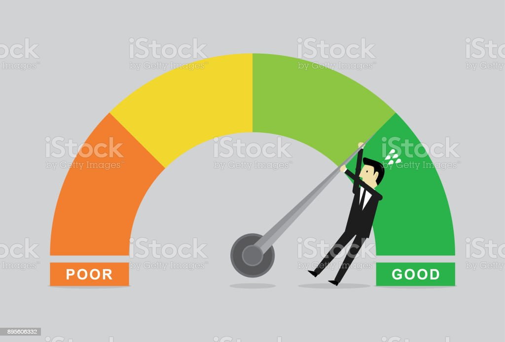Performance chart & Businessman vector art illustration