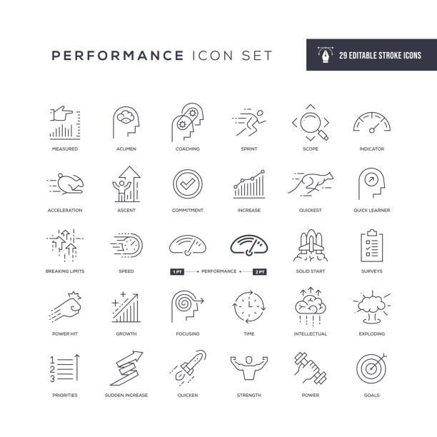 performance editable stroke line icons - anfang stock-grafiken, -clipart, -cartoons und -symbole