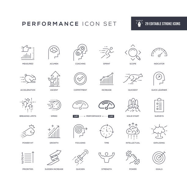 Performance Editable Stroke Line Icons 29 Performance Icons - Editable Stroke - Easy to edit and customize - You can easily customize the stroke with meter instrument of measurement stock illustrations