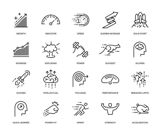 ilustrações de stock, clip art, desenhos animados e ícones de performance icon set - active brain