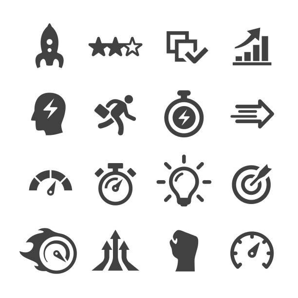 Performance Icons - Acme Series Performance, Efficiency, Development, Growth performance stock illustrations