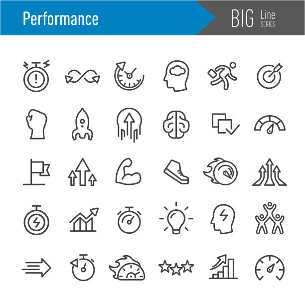 Performance Icons - Big Line Series Performance, Growth, Efficiency, stiff stock illustrations